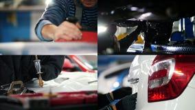 4 w 1: pracujący proces na samochodowym warsztacie - Mleć remontowego wyzdrowienie zbiory