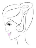 W profilu kobiety twarz ilustracji
