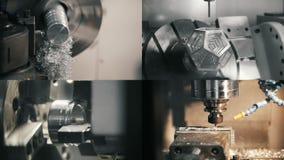 4 w 1: Przemysłowe maszyny pracuje na fabryce zbiory wideo