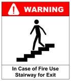 W przypadku pożarniczego use schody dla wyjście znaka koloru płomienia ustalonego symbolu wektor Zdjęcie Stock