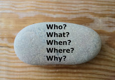 5 W questions on the stone - who?, what? when?, where?, why? -. Who?, what? when?, where?, why? questions on the stone, education, learning concept, minimal royalty free stock photography