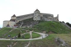 W średnim wieku forteca w Rushnov, Rumunia zdjęcie royalty free