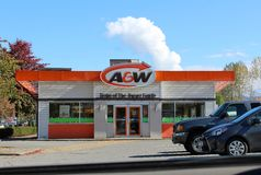 A & W  Restaurant in Mission BC. The colorful orange, white and brown retro looking Royalty Free Stock Photos