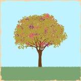W retro stylu kleksa piękny drzewo Obrazy Royalty Free