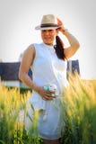 W Rice Polu piękna Ciężarna Azjatycka Kobieta Fotografia Royalty Free