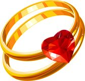 W_rings. Wedding rings on a white background Stock Photos