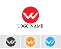 W rotula o logotipo do negócio e o molde dos símbolos Foto de Stock