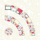 W rss gadżet ogólnospołeczne medialne ikony kształtują pojęcie Obraz Stock