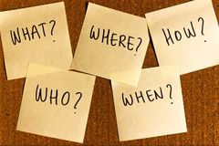 5 w`s of journalism, what, who, where, when, how written on notes pinned on a cork board. Five W`s of journalism and storytelling on notes pinned on a cork board stock photo