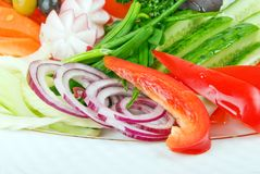 W sałatce świezi rżnięci warzywa Fotografia Royalty Free