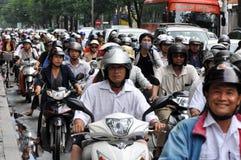 W Saigon ciężki ruch drogowy obraz royalty free