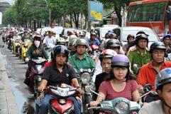 W Saigon ciężki ruch drogowy Fotografia Stock
