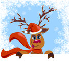 W Santa kapeluszu bożenarodzeniowy śmieszny Renifer ilustracja wektor