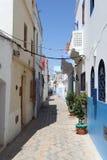 Wąska ulica w Asilah, Maroko Obraz Stock