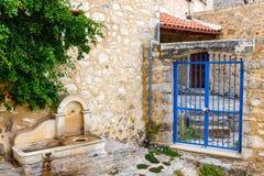 Wąska ulica w wiosce Kritsa blisko Agios Nikolaos Fotografia Stock