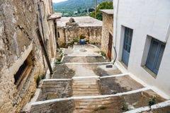 Wąska ulica w wiosce Kritsa blisko Agios Nikolaos, Crete Obrazy Royalty Free