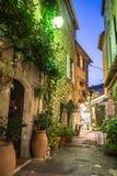 Wąska ulica z kwiatami w starym grodzkim Mougins w Francja Ni zdjęcie royalty free