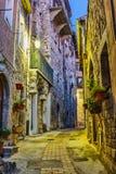 Wąska ulica z kwiatami w starym grodzkim Peille w Francja Nig zdjęcie stock
