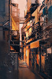 Wąski alleyway w starym miasteczku przy wieczór Obrazy Stock