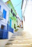 W?skie ulicy Skopelos miasteczko, Grecja zdjęcie royalty free