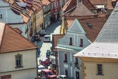 Wąskie ulicy W Cesky Krumlov Zdjęcie Stock