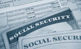 W2 and Social Sec. W2 tax form and Social Security cards Royalty Free Stock Image