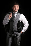 W srebnym garniturze atrakcyjny mężczyzna Obrazy Stock
