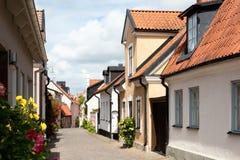 W starym miasteczku Visby, Szwecja Obrazy Stock