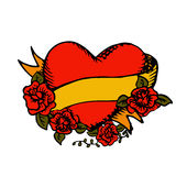 W starym stylu tatuażu serce z faborkiem Zdjęcia Royalty Free