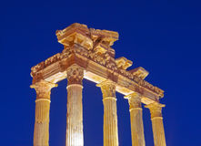 W Stronie stare ruiny, Turcja przy zmierzchem Zdjęcie Stock
