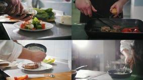 4 w 1: Szef kuchni przygotowywa zróżnicowanego posiłek - stek Smaży sałatkową porcję zdjęcie wideo