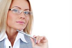 W szkłach biznesowa kobieta obrazy stock