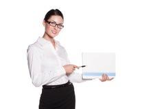 W szkłach atrakcyjna biznesowa kobieta Obraz Stock