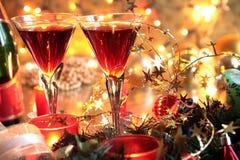 W szkłach Close-up czerwone wino Zdjęcia Stock