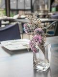 W szklanej wazie purpurowi kwiaty Zdjęcia Royalty Free