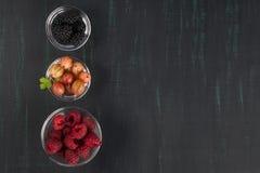 W szklanych pucharach malinki, agresty i czernicy umieszczają z rzędu na zmroku stole Obrazy Stock