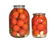 W szklanym Bootle zakonserwowany pomidory Fotografia Stock