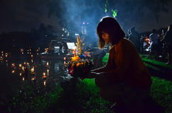 W Tajlandia Loy festiwal Kratong Zdjęcia Stock