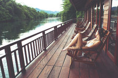 W Tajlandia rzeczny Kwai obrazy stock