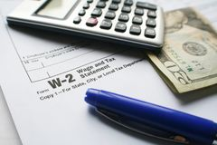 W-2 Tax Form royalty free stock image