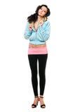 W uśmiechnięta młoda kobieta czarny leggings Fotografia Stock
