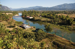 W Vang Mekong Rzeka, Vieng, Laos Zdjęcia Royalty Free