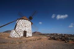 W Villaverde stary wiatraczek, Fuerteventura Obrazy Stock