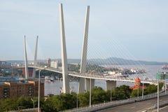 W Vladivostok zawieszenie most, Rosja fotografia royalty free