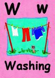 W is for washing. Learn the alphabet and spelling. W is for washing. Watercolour cartoon painting of a clothes line and worm. Letter W, ABC kids wall art stock illustration