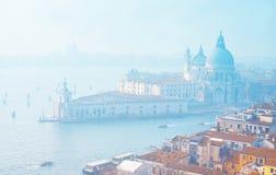 w Wenecji italy powietrzny widok Venice Zadziwiający pejzaż miejski Wenecja z wyspami fotografia stock