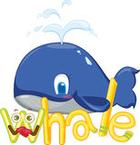 W for whale. Illustration of w for whale Royalty Free Stock Photo