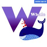 W whale letter. W letter of english alphabets with funny cartoon whale. Preschool educational programm card, element for children book, manual, poster, print Royalty Free Illustration
