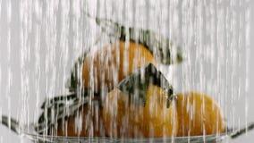 W wideo widziimy tangerines, wtedy płynąć od wierzchołka woda początki woda spadki jak ciężka prysznic, biała zdjęcie wideo