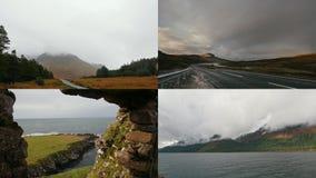 4 w 1: Wijąca droga w górach, krajobraz na chmurnym dniu - morze jaskiniowe góry zdjęcie wideo